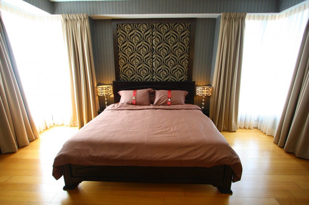 Mixed patterned bedroom in II Hampshire condo, KLCC by Quest Designs