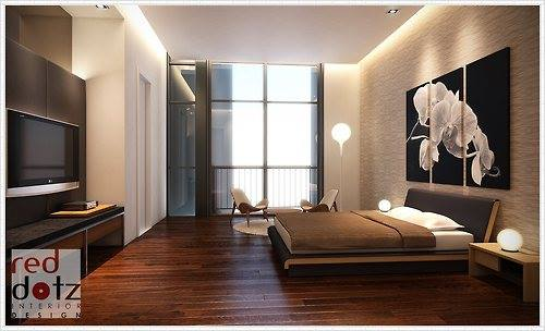 Penthouse bedroom concept in Bangsar, KL by Red Dotz Design. Source