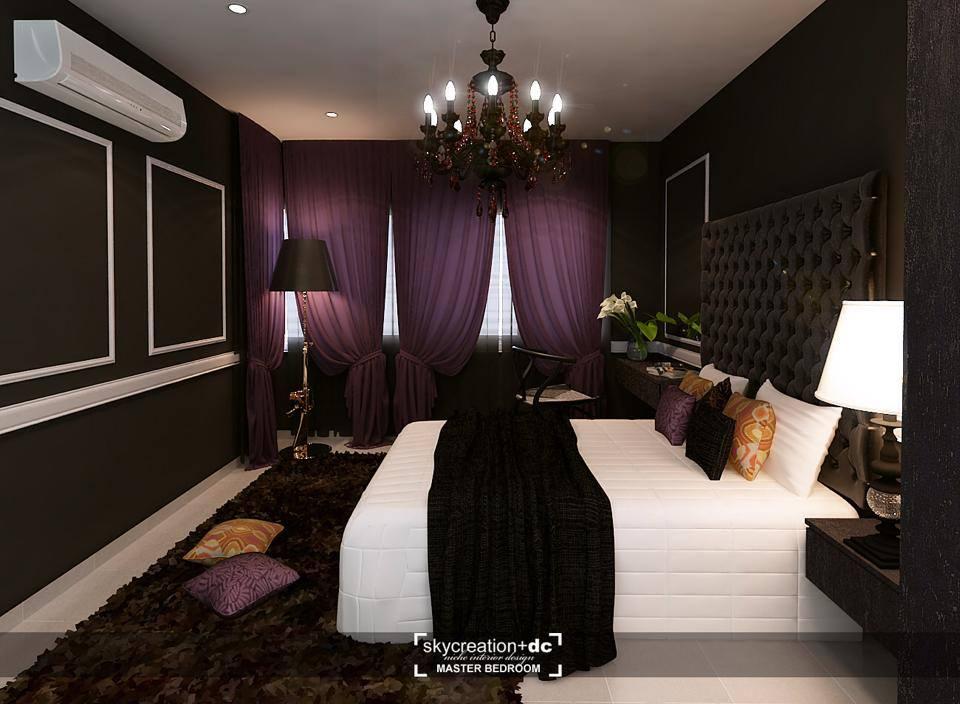 Deep purple bedroom at Koi Kinrara, Puchong by Sky Creation. Source