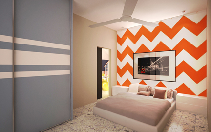 Paint and patterned bedroom in Selayang by The Doors