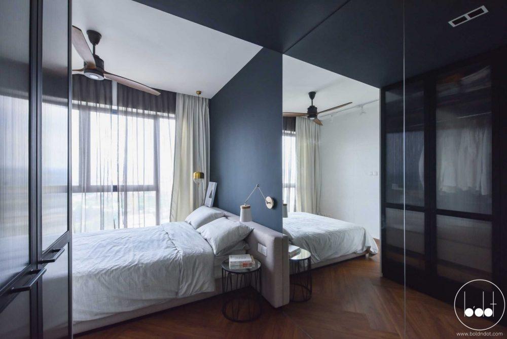 Blue-grey bedroom at Ascenda Residences, SkyArena Setapak by Bold N Dot. Source