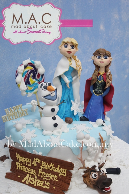 Olaf, Elsa and Anna frozen cake by Mad About Cake