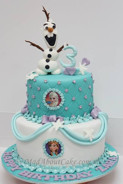 Olaf, Elsa and Anna cake from Frozen by Mad About Cake. Source