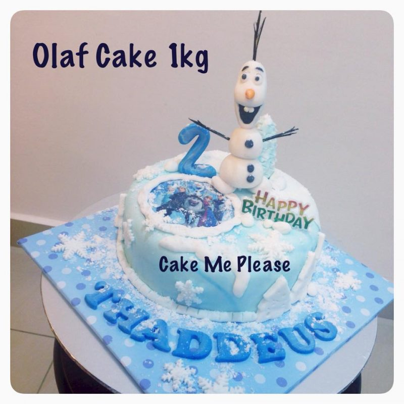 Olaf Cake 1kg by Cake Me Please. Source