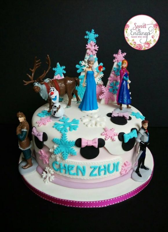 Pastel pink and blue custom-made cake from the movie Frozen. Made by Sweet Endings. Source