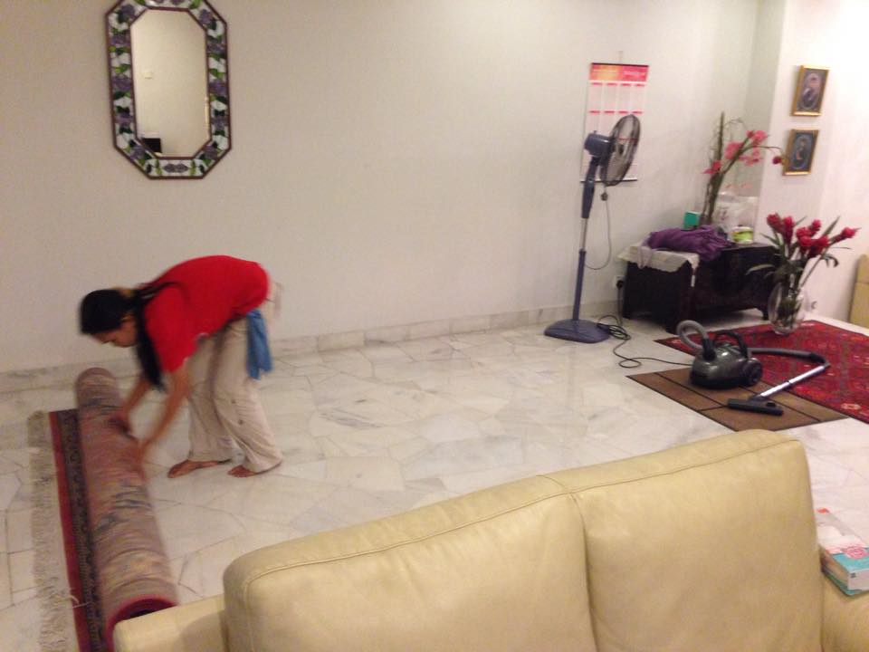 Hired cleaner cleaning a house in TTDI, KL