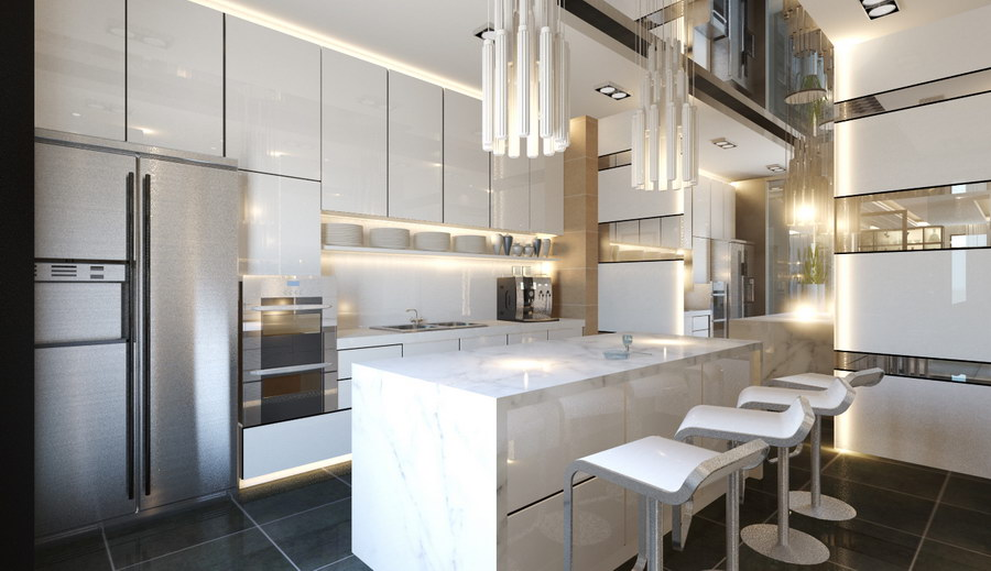 30 kitchens from malaysian interior designers for Dry kitchen ideas