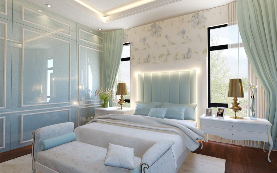 Girl's blue bedroom in Royal II Cheras by MSR Design