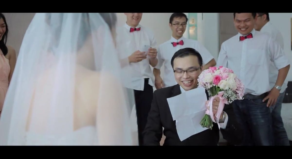 The nervousness, the exhilaration, the joy is all captured in this groom's gatecrashing and vows. Wedding Video by ABC Studio.