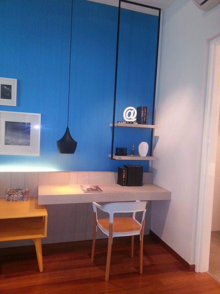 Study design in the bedroom with blue wall colour. Built by LNNS Construction and Renovation, Taman Tun Dr Ismail.