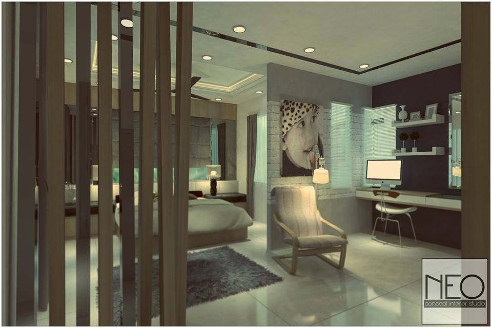 Partition to separate workspace lighting from bedroom area, Design by Neo In Design, Puchong