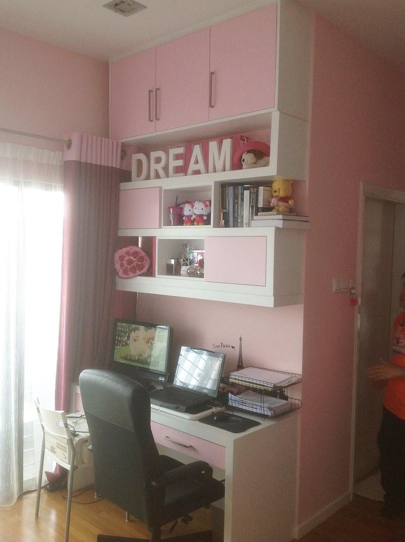 Pink study room by DC Rekabina renovation contractor