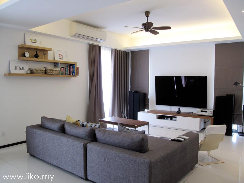 White and grey living room designs by IIKO Concept