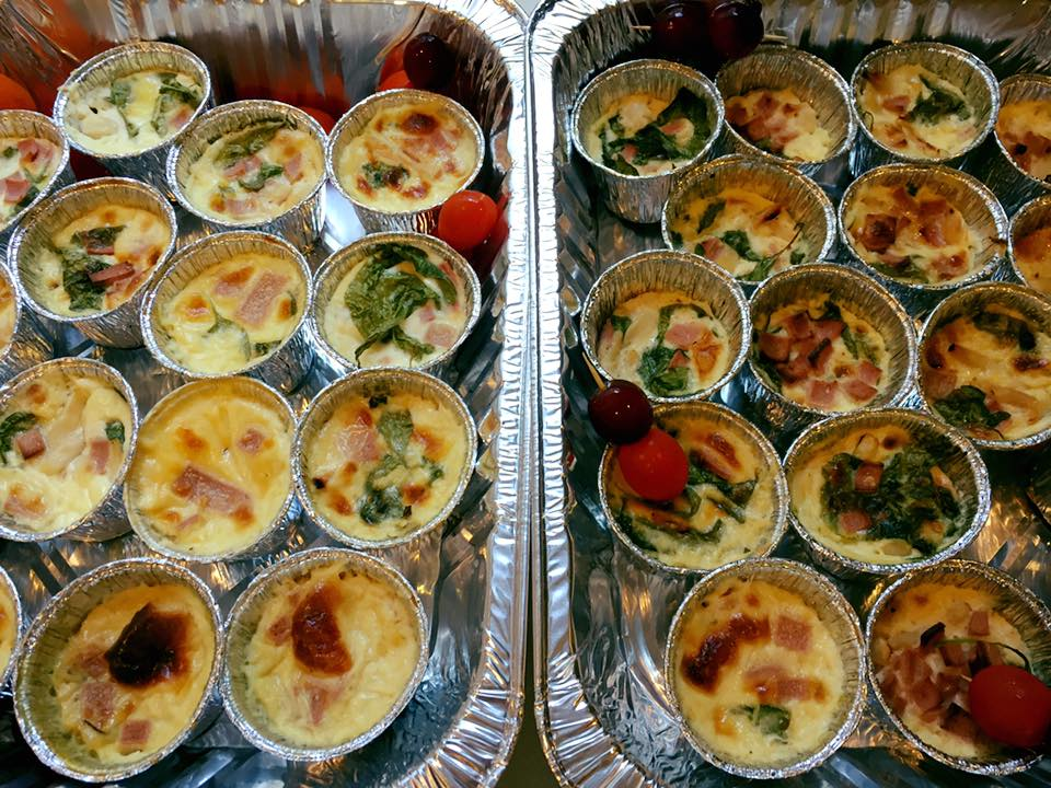 Mini quiche. Catering menu by House of Croissant.