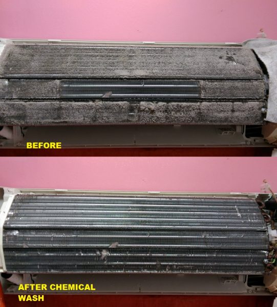Aircon filter chemical cleaning by AC COIL ENTERPRISE. Source.