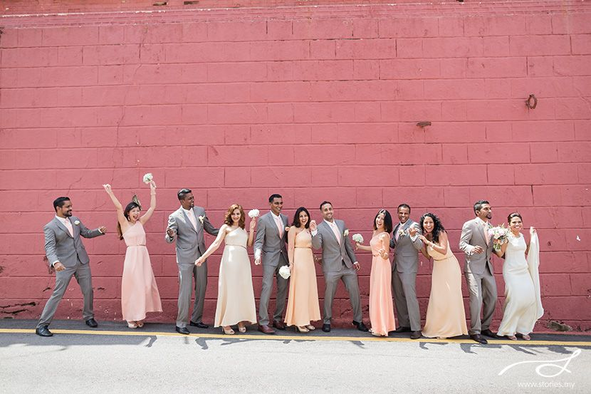 Bridesmaids and groomsmen. Wedding photography by Stories.my