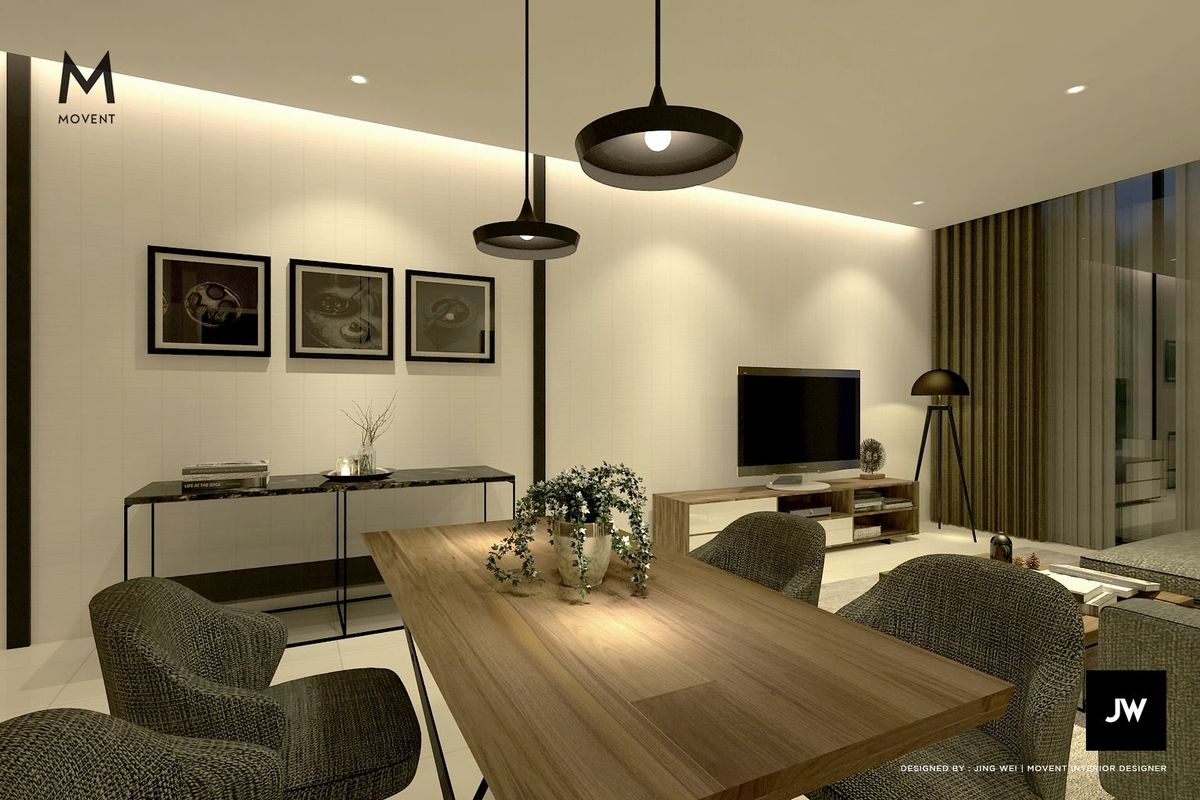 Pendant lights function as task lights to illuminate the dining table in this concept by Movent Design.