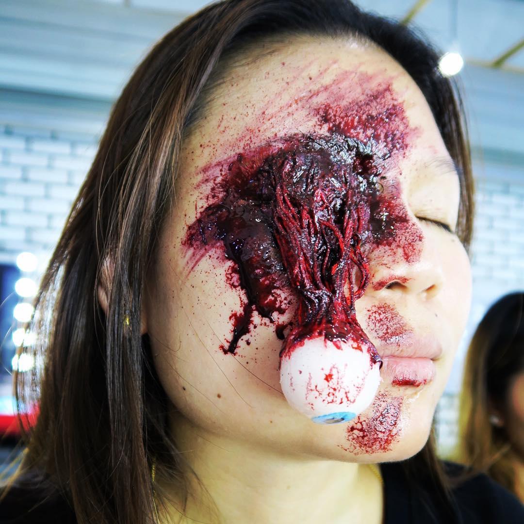 Eye prosthetic halloween makeup by Bev Muah. Source