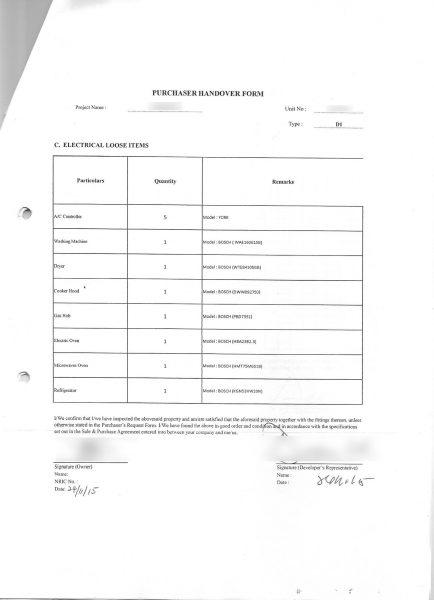 Property Handover Form