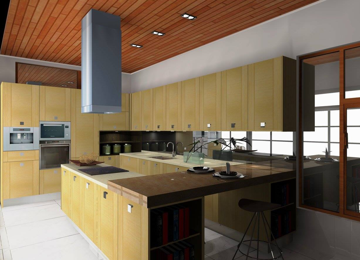 Khaki kitchen cabinets by Signature Kitchen, Setia Alam Branch. Source.
