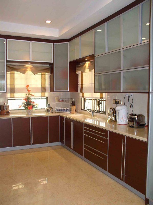 Burgundy Kitchen Cabinet Design By Grandview Construction. Source.