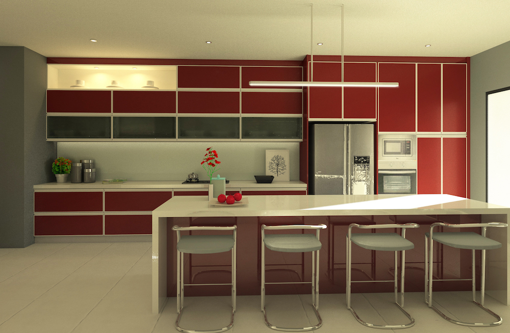 Red Gloss Laminate Kitchen With White Counter By Zone One Kitchen  Solutions. Source.
