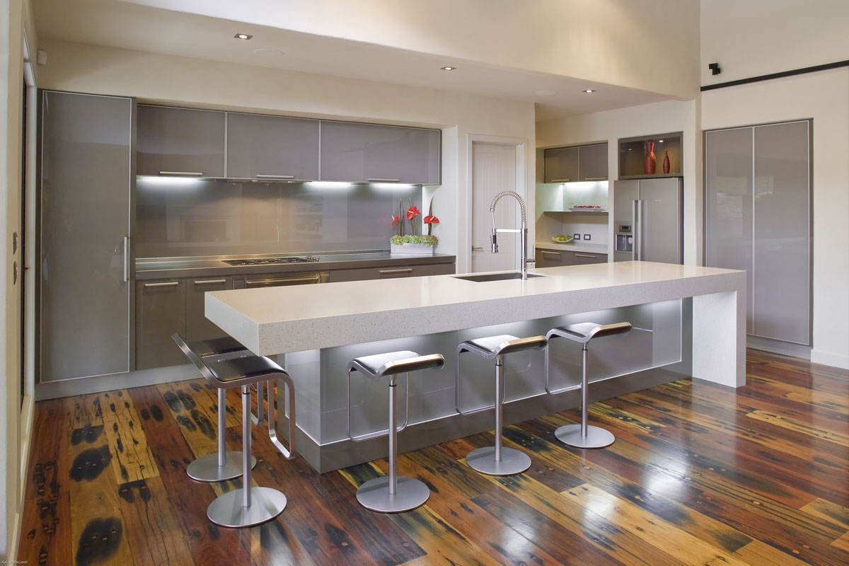 Best kitchen cabinet brands malaysia - Grey Kitchen Cabinets With Grey Backsplash And A White Island Counter
