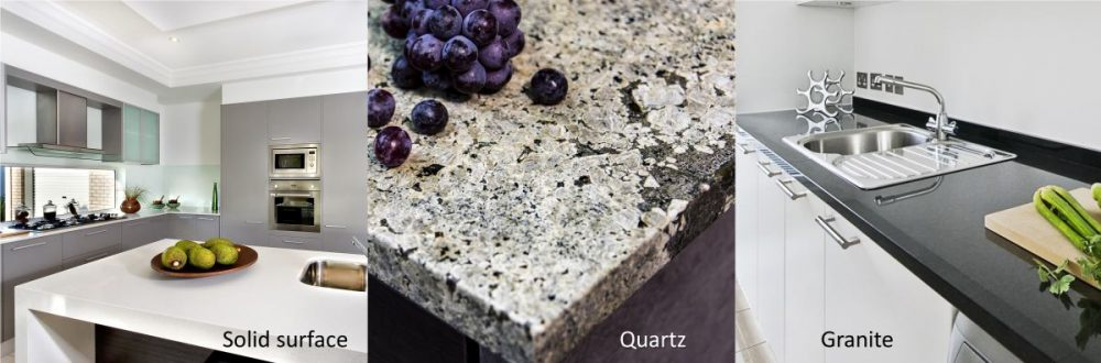 Kitchen counter materials - solid surface, quartz, granite