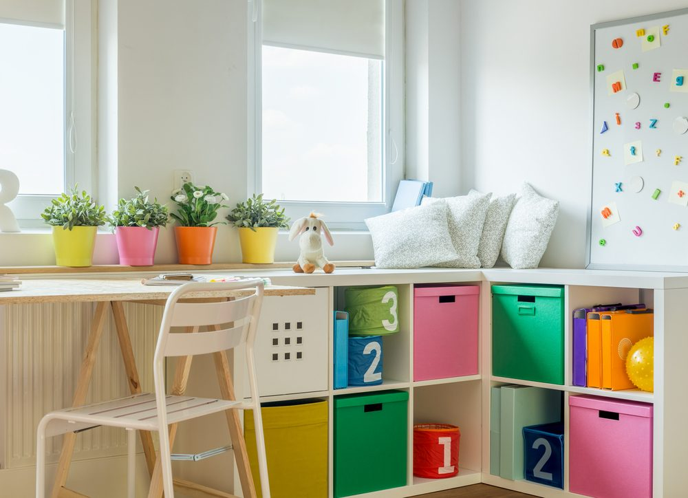 Incorporate study areas with storage and shelving in your bedroom design for smarter children