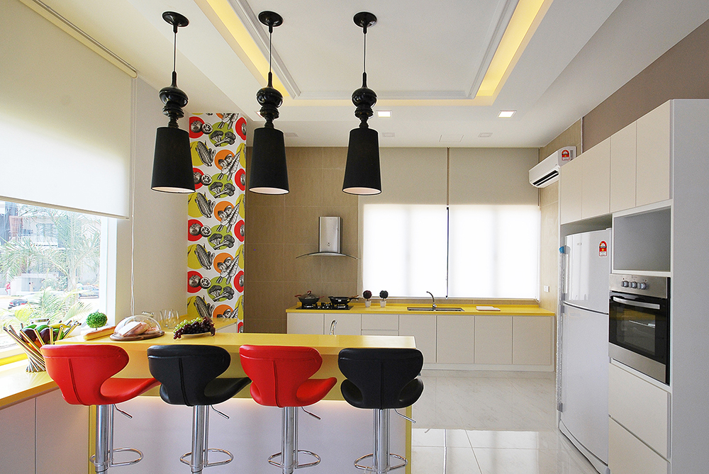 4 Bedroom Semi D In Ipoh South Precinct With Yellow Interior Design  Elements.