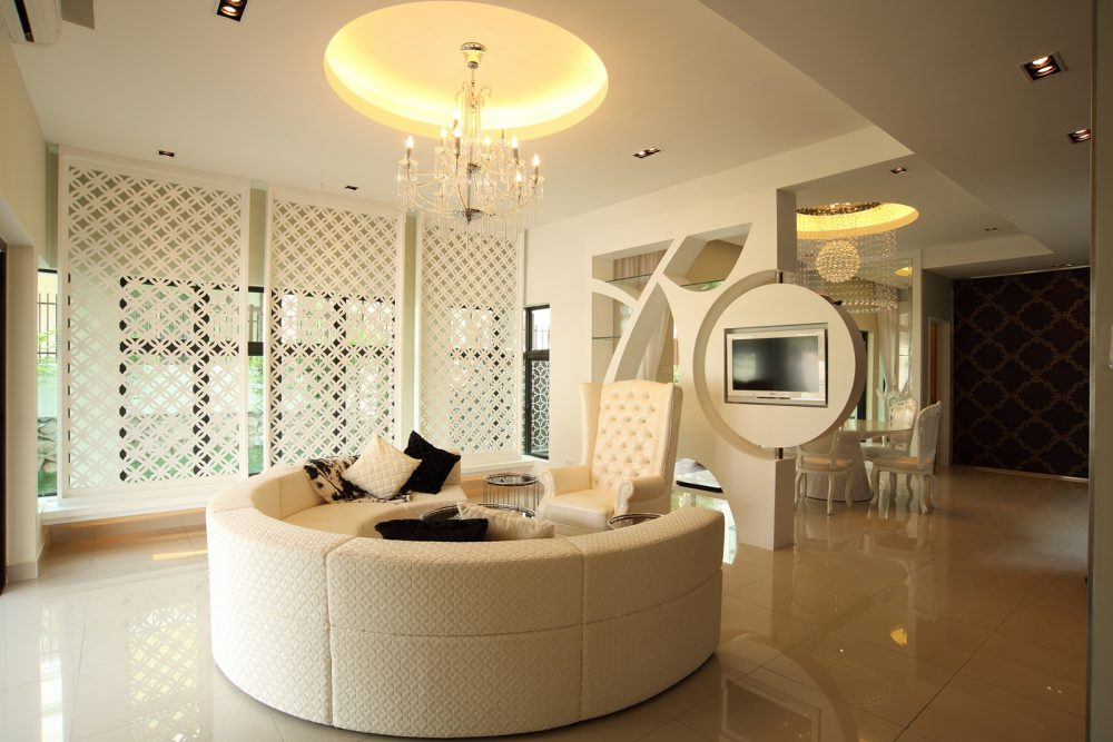 Modern Contemporary living room design for bungalow in Desa Park City. Design by Hatch Design