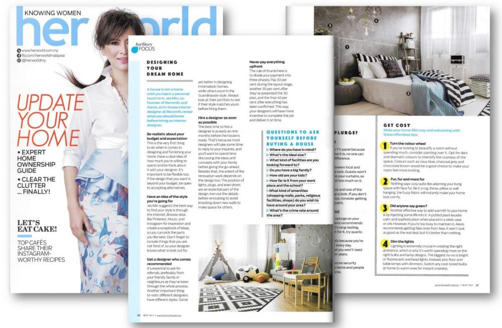RecomN featured in Her World Malaysia June 2017 on Updating Your Home