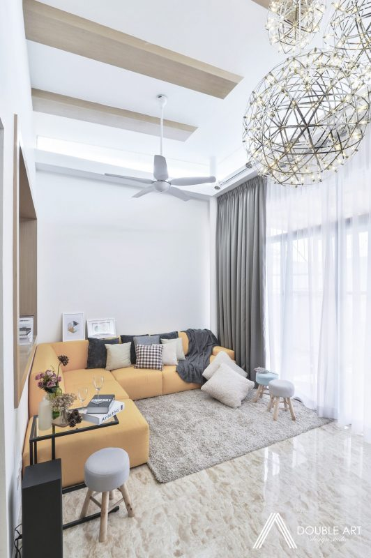 Scandinavian interior design in this bedroom in Puchong by Double Art Design Studio