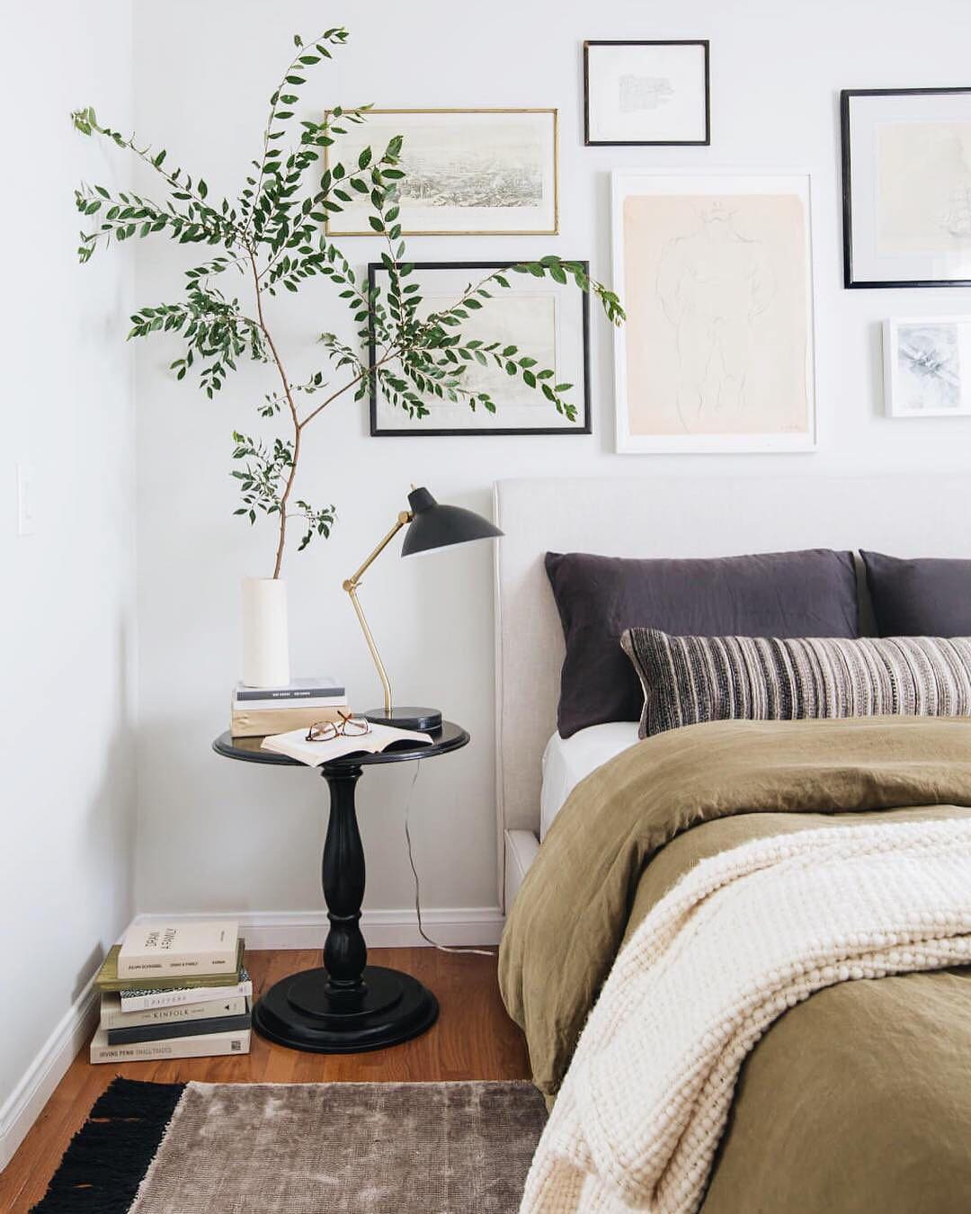 add plants in your bedroom designs to help you sleep better. Source: instagram.com/mydomaine/