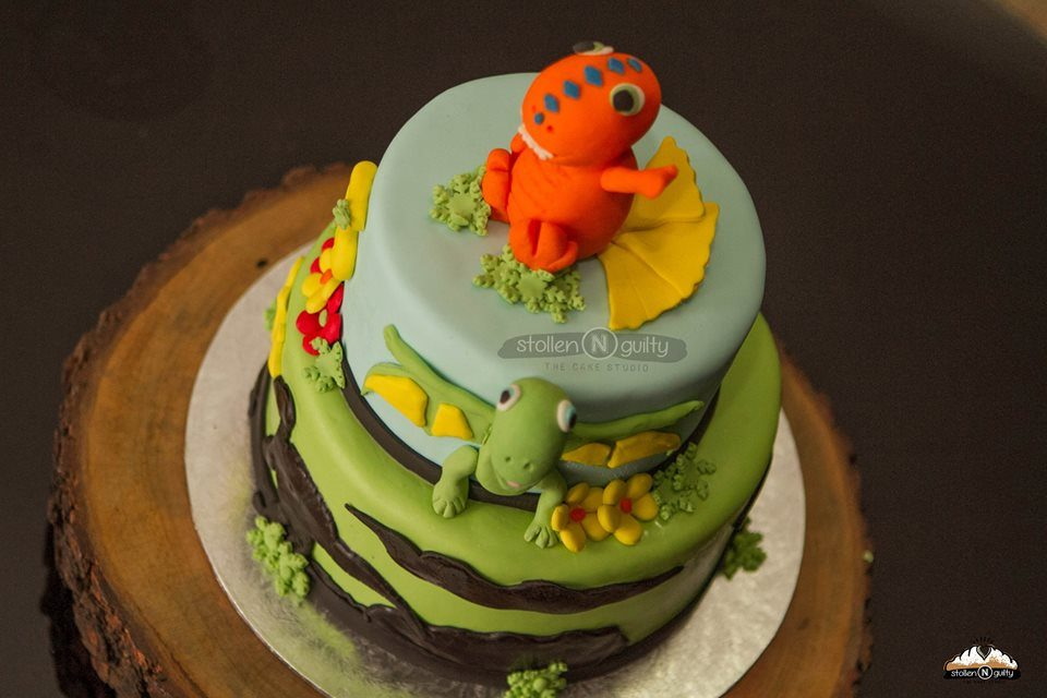 Two-Tiered Dinosaur Train Themed Cake with Buddy and Tiny by Stollen N Guilty