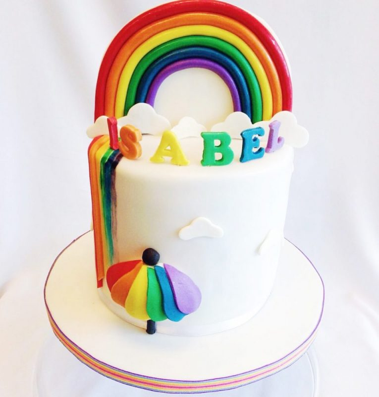 Rainbow fondant cake by Temptations Cakes Singapore