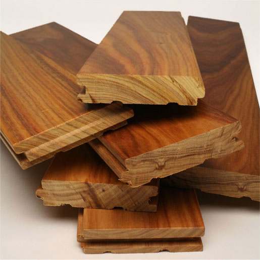 Solid wood flooring planks made of keruing wood