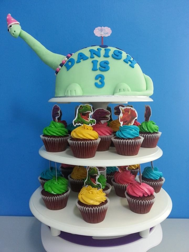 Cupcake Tier with Dinosaur Cupcake Toppers by Sugary Secrets