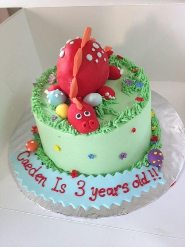 Sleeping Dinosaur Cake for 3 year old by My Fat Lady Cakes and Bakes