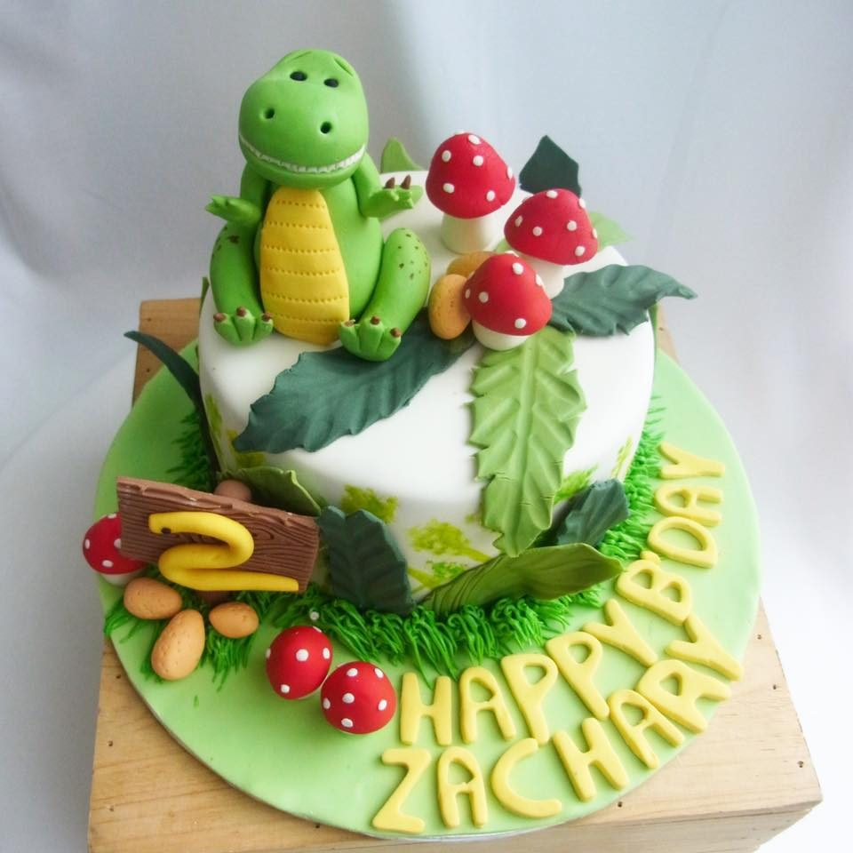 T-Rex in a Mushroom Garden - Dinosaur cake for 2-year old boy by Corine and Cake