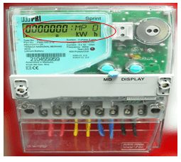Example of 3 phase energy meter from Tenaga Nasional