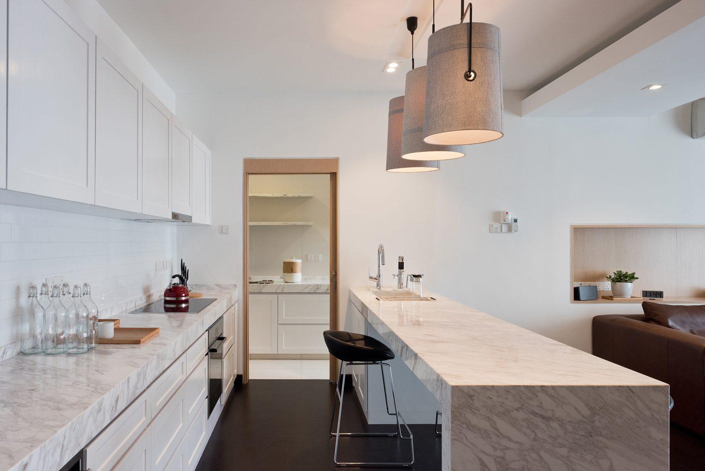 Kitchen design for Condominium in Casa Tropicana. Project by: Pocket Square