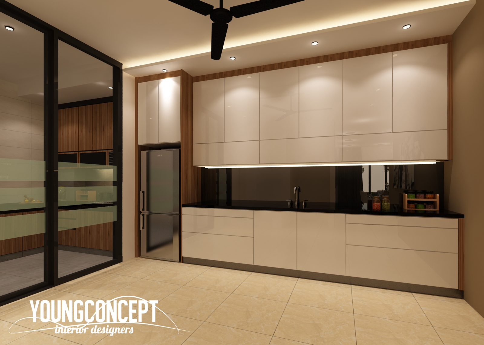 Dry Kitchen design for Semi-Detached House in SD Villa, Shah Alam. Project by: Young Concept Design