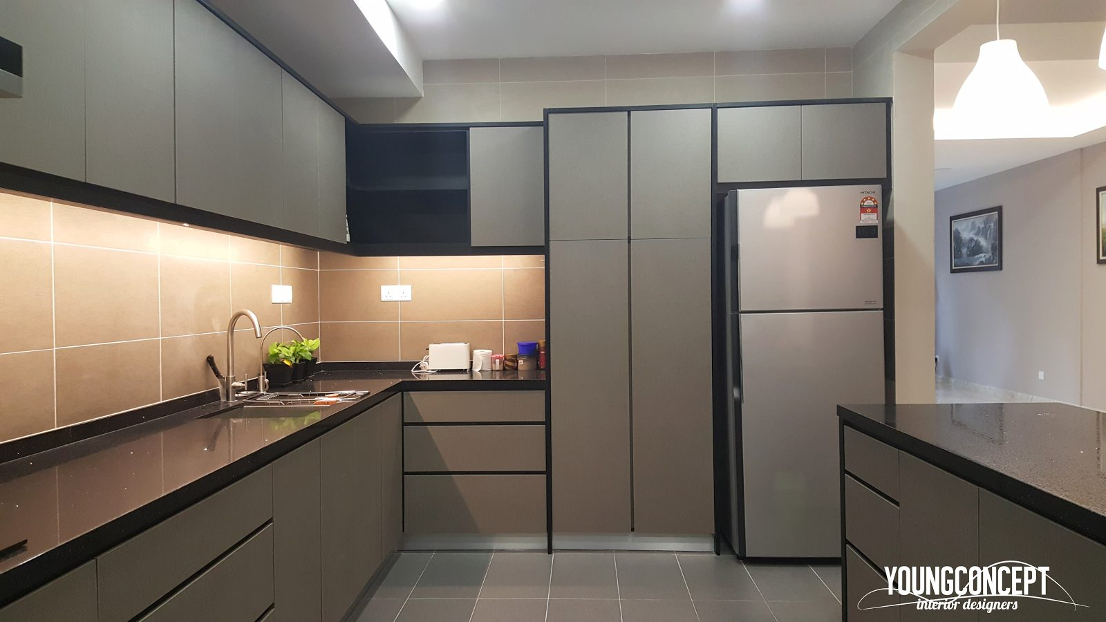 Kitchen design for Bungalow in Lake Edge, Puchong. Project by: Young Concept Design Sdn Bhd