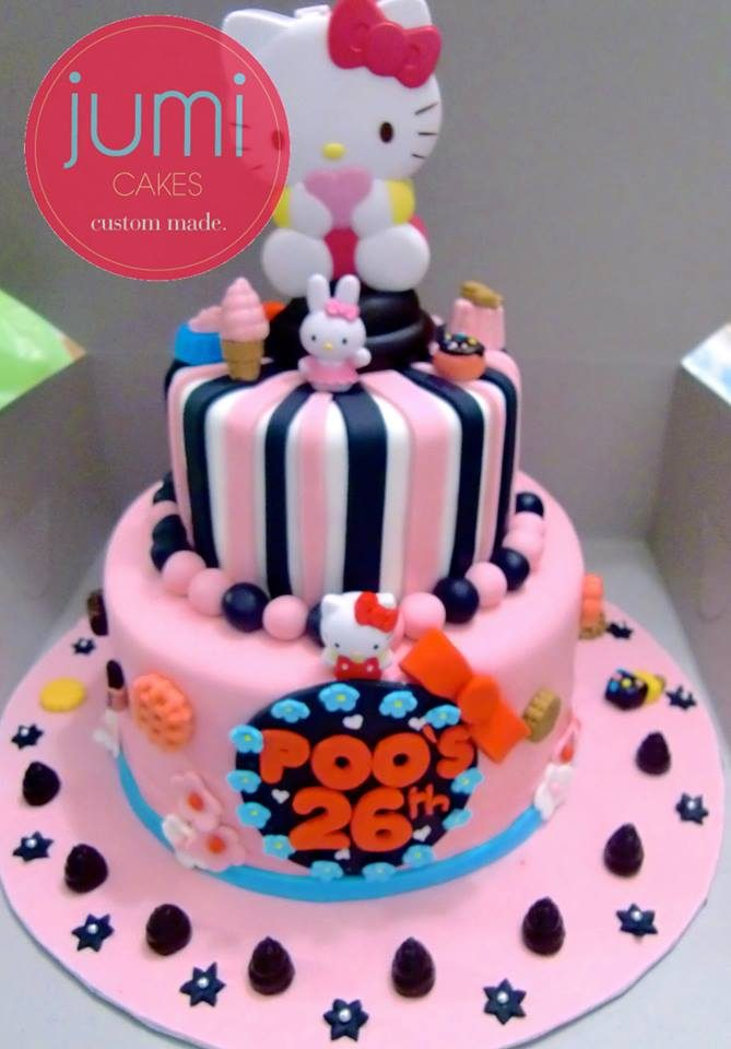 A slightly matured Hello Kitty Cake with black and pink decoration. Made by: Jumi Cakes. Source