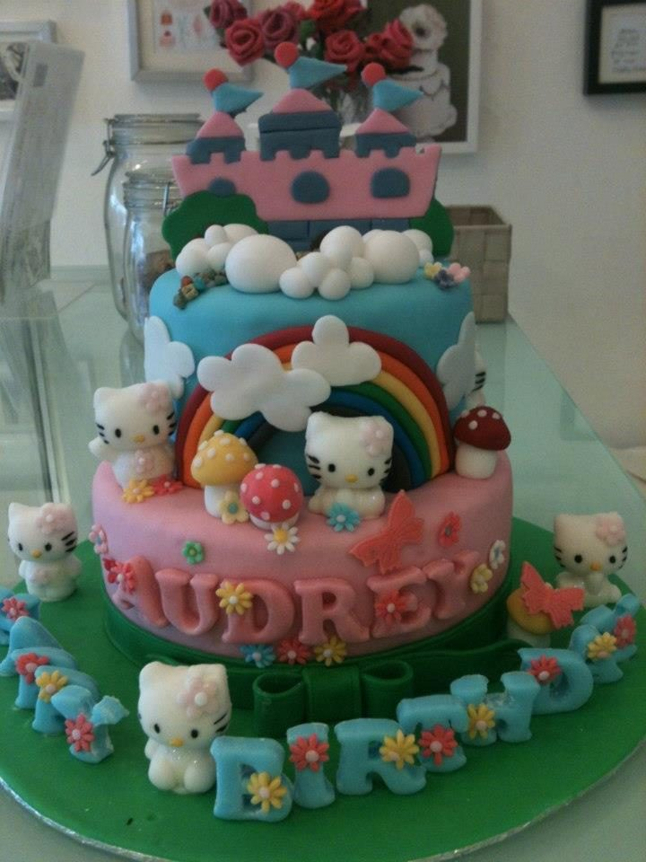 This Hello Kitty kingdom on a two-tiered round cake is just too pretty! Made by: Bonheur Patisserie. Source