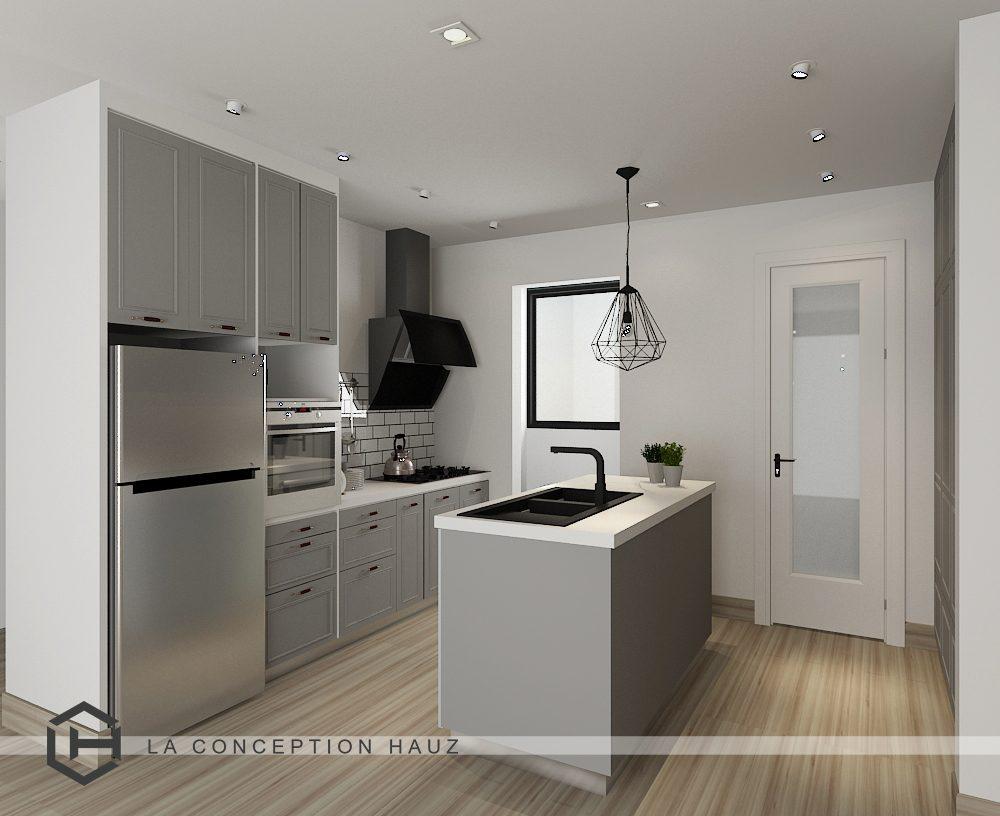 Small Kitchen design for Condominium in Serin Cristal Residence, Cyberjaya. Project by: La Conception Hauz