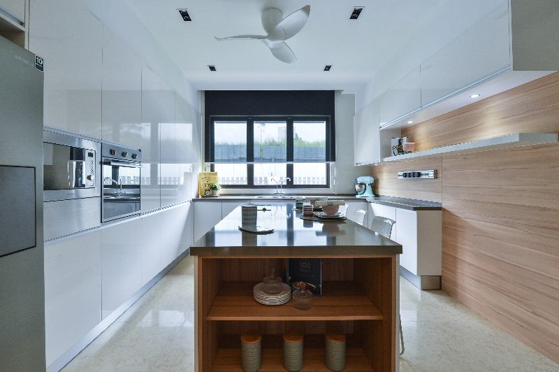 Kitchen In Subang Bestari Consisting Of Base Cabinet, Tall Cabinet And Wall  Cabinets. Project