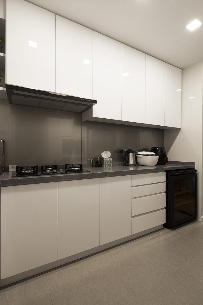 Modern Minimalist Small Kitchen Design For Condominium In Waldorf Tower,  Mont Kiara. Project By