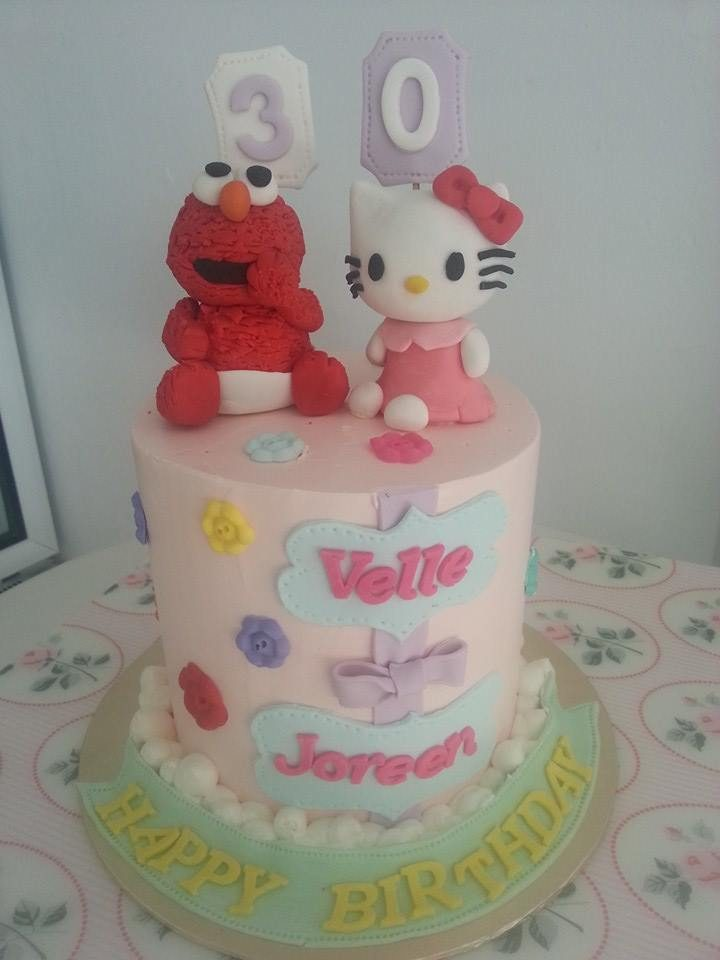 Baby Elmo and Hello Kitty cake by My Fat Lady Cakes and Bakes - Recommend.sg